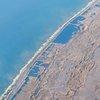 Sea salt processing facilities in Walvis Bay, Namibia.